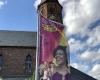 Outdoor Werbefahne für den Gospelkirchentag Karlsruhe von Fahnen-Kreisel